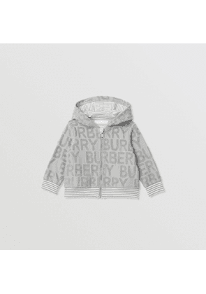 Burberry Childrens Logo Towelling Hooded Top, Size: 18M, Grey