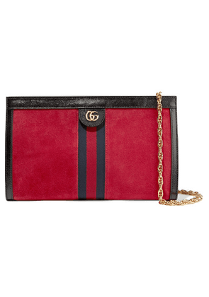 Gucci - Ophidia Patent-leather Trimmed Suede Shoulder Bag - Red