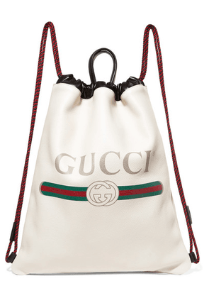 Gucci - Printed Textured-leather Backpack - White