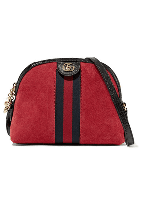 Gucci - Ophidia Patent Leather-trimmed Suede Shoulder Bag - Red