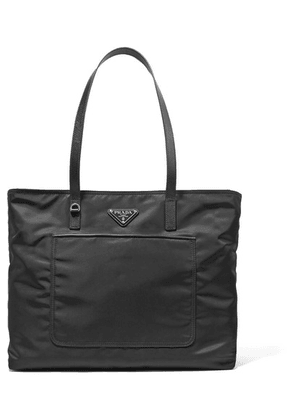 Prada - Vela Leather-trimmed Shell Tote - Black