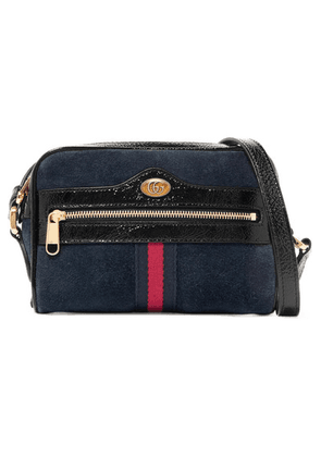 Gucci - Ophidia Patent Leather-trimmed Suede Shoulder Bag - Navy