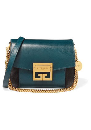 Givenchy - Gv3 Mini Two-tone Suede And Textured-leather Shoulder Bag - Blue