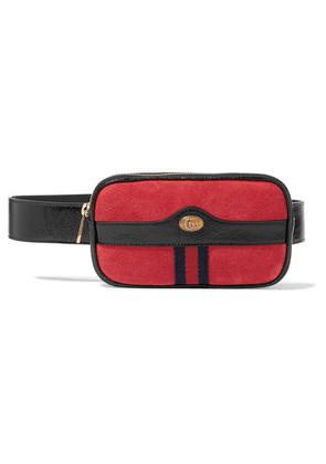 Gucci - Ophidia Patent Leather-trimmed Suede Belt Bag - Red