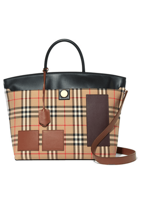 Burberry - Leather-trimmed Checked Cotton-drill Tote - Brown