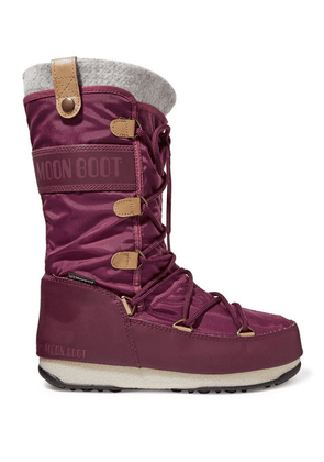 Moon Boot - Monaco Felt-lined Shell And Faux Leather Snow Boots - Burgundy