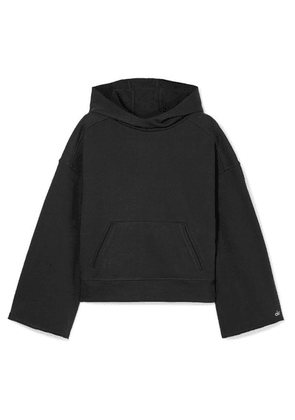 Alo Yoga - Low Key Distressed French Cotton-blend Terry Hoodie - Black