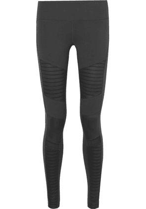 Alo Yoga - Moto Mesh-paneled Stretch Leggings - Dark gray