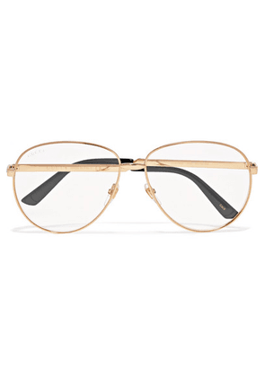 Gucci - Aviator-style Gold-tone Optical Glasses - one size