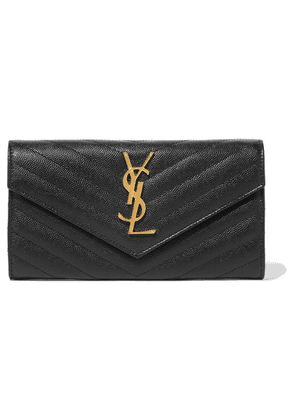 Saint Laurent - Quilted Textured-leather Wallet - Black