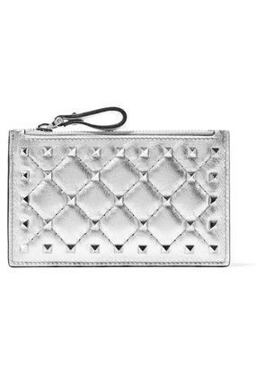 Valentino - Valentino Garavani The Rockstud Metallic Quilted Leather Pouch - Silver