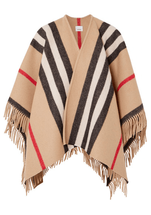 Burberry - Fringed Checked Wool Wrap - Camel