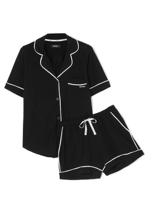 DKNY - Signature Cotton-blend Jersey Pajama Set - Black