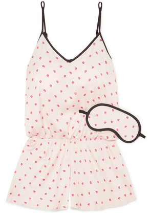 DKNY - Read My Lips Printed Crepe De Chine Playsuit And Eyemask Set - Pink