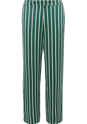 ASCENO - Striped Silk-satin Pajama Pants - Forest green