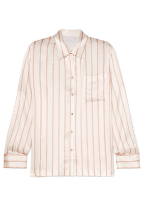 ASCENO - Striped Silk-satin Pajama Shirt - Off-white