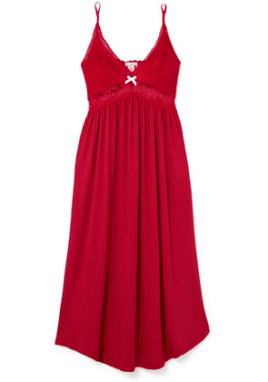 Eberjey - Mademoiselle Lace-trimmed Stretch-modal Jersey Nightdress - Tomato red