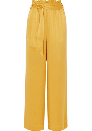ASCENO - Belted Silk-satin Pajama Pants - Marigold