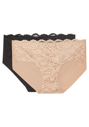 Commando - Set Of Two Double Take Lace-paneled Stretch Briefs - Neutral