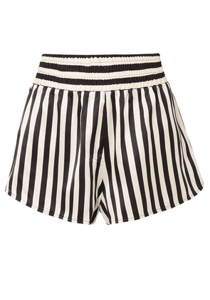5225cb1a96e8b Morgan Lane - + Amanda Fatherazi Corey Appliquéd Striped Silk-charmeuse  Pajama Shorts - Black