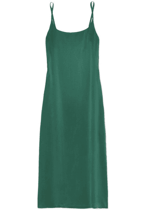 ASCENO - Washed-silk Midi Dress - Forest green
