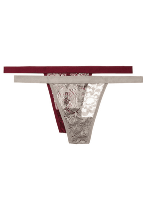 Anine Bing - Isla Set Of Two Stretch-lace Thongs - Silver