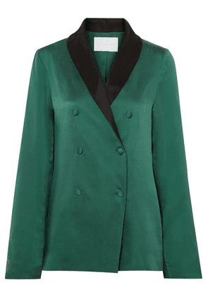 ASCENO - Washed-silk Blazer - Forest green