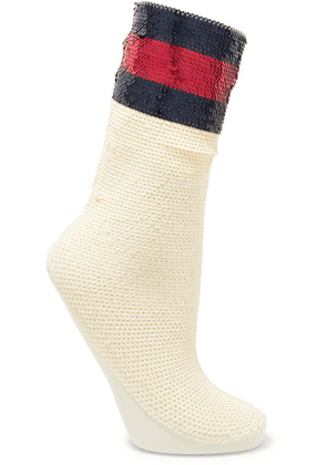 Gucci - Striped Sequined Stretch-mesh Socks - Ivory