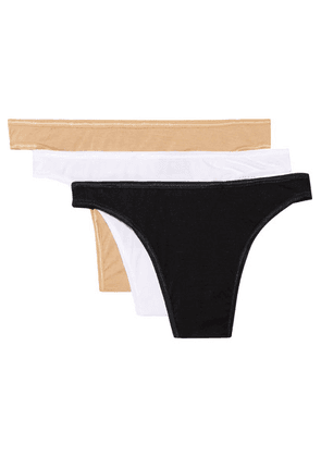 Cosabella - Talco Set Of Three Stretch-jersey Thongs - Black