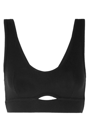 ELSE - Cutout Ribbed Jersey Soft-cup Bra - Black