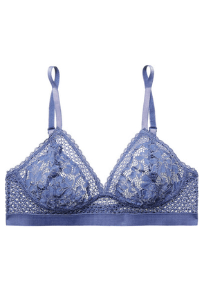 ELSE - Petunia Stretch-mesh And Corded Lace Soft-cup Triangle Bra - Indigo