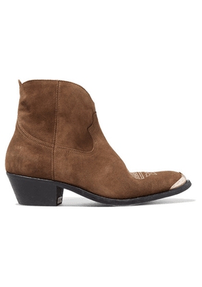 Golden Goose Deluxe Brand - Young Embellished Embroidered Suede Ankle Boots - Brown