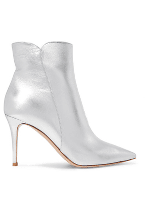 Gianvito Rossi - Levy 85 Metallic Leather Ankle Boots - Silver