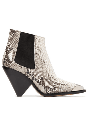 Isabel Marant - Lemsey Metal-trimmed Snake-effect Leather Ankle Boots - Snake print