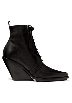 Ann Demeulemeester - Lace-up Leather Wedge Ankle Boots - Black
