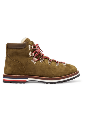Moncler - Blanche Shearling-lined Suede Ankle Boots - Army green