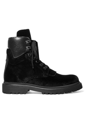 Moncler - Patty Leather-trimmed Velvet Ankle Boots - Black