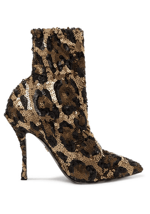 Dolce & Gabbana - Sequined Stretch-knit Sock Boots - Leopard print