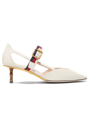 Gucci - Grosgrain-trimmed Leather Pumps - Ivory