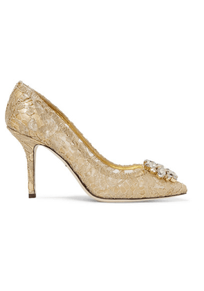 Dolce & Gabbana - Crystal-embellished Corded Lace Pumps - Gold