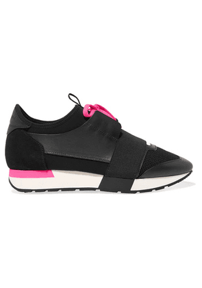 Balenciaga - Race Runner Leather, Suede, Mesh And Neoprene Sneakers - Black