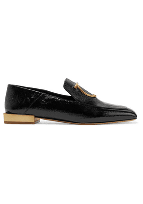 Salvatore Ferragamo - Lana Embellished Textured Patent-leather Collapsible-heel Loafers - Black