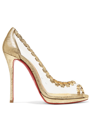 f08e4789de6a Christian Louboutin - Hargaret 120 Pvc And Metallic Cracked-leather Pumps -  Gold