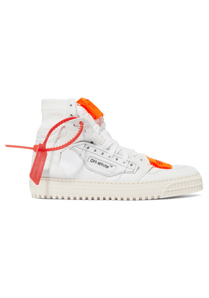 Off-White - Off-court Logo-embellished Canvas And Leather High-top Sneakers - IT38