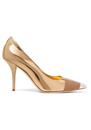 Burberry - Tape-trimmed Metallic Leather Pumps - Gold