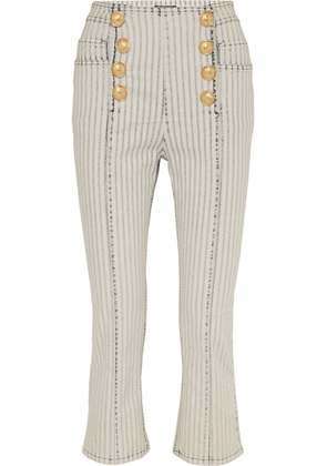 Balmain - Cropped Striped High-rise Slim-leg Jeans - Light blue