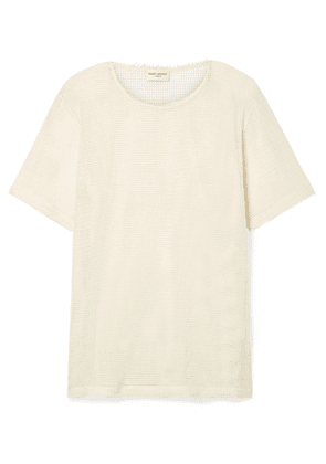 SAINT LAURENT - Cotton-mesh T-shirt - Cream