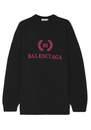 Balenciaga - Embroidered Wool And Cashmere-blend Sweatshirt - Black