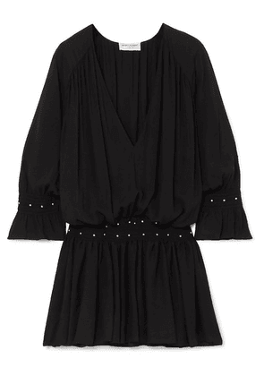 SAINT LAURENT - Studded Jersey Mini Dress - Black