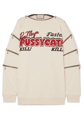 Gucci - Zip-detailed Printed Cotton-jersey Sweatshirt - Ivory